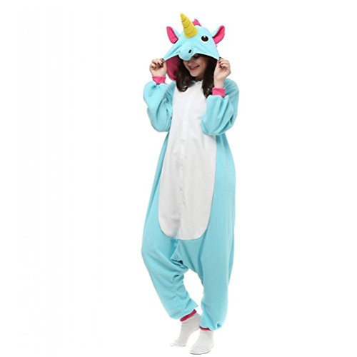 [Adult Unisex Blue Unicorn Animal Kigurumi Pajamas Cosplay Birthday Party Wear S] (Chipmunk Squirrel Costume Party)