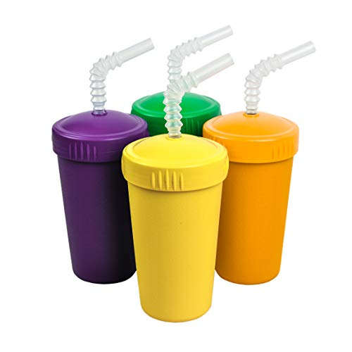 (Re-Play Made in The USA 4pk Straw Cups with Reversable Reusable Straw for Baby, Toddler, and Child Feeding - Kelly Green, Amethyst, Sunny Yellow, Yellow (Mardi Gras+))