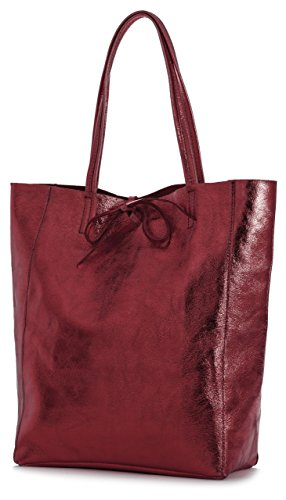 LIATALIA Metallic Soft Shoulder Leightweight Handbag Genuine Large Leather Tote ASTRID Italian Red Shopper Hobo pSprg