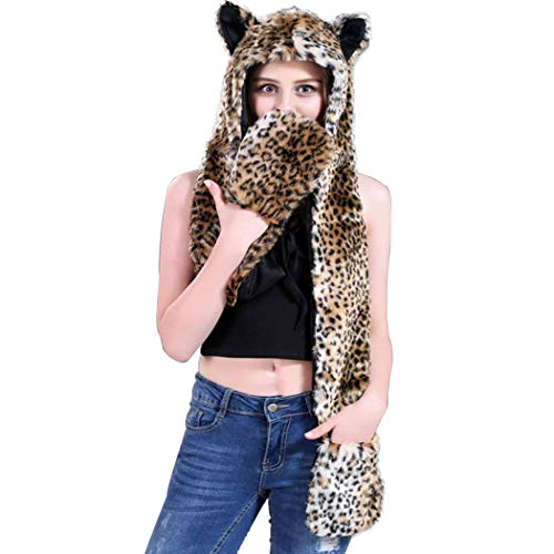 (Faux Fur Animal Hood, Hat, Scarf Mittens 3-in-3 Function Furry Hoodie with Paws Ears (Leopard))