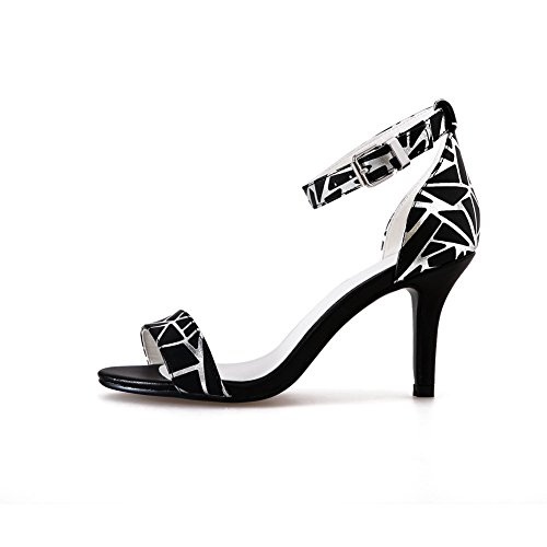 AmoonyFashion Womens Assorted Color Cow Leather High-Heels Open Toe Buckle Sandals Black 9B1zcYab