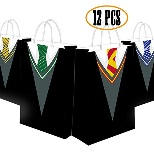 Happy Storm Potter Gift Bags Wizard Party Goodie Bag Favor Halloween School Tie Cosplay Party Decorations 4 Designs (12 pcs)