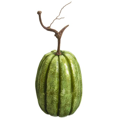 14''Hx6''W Artificial Weighted Pumpkin -Green (pack of 6) by SilksAreForever