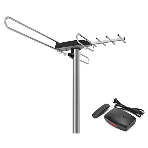 1byone Rotating TV Antenna with 360 Degree Directional Receiving Signal, 80 Mile Enhanced Outdoor TV Antenna with Remote Control and 49.2ft High Performance Coaxial Cable-Black by 1byone