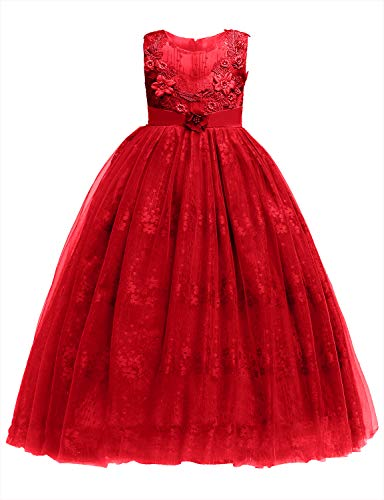 Blevonh Elegant Dresses for Girls Kids Sleeveless Fluffy Swing Pleated Back Tie Flower Formal Prom Baptism Dress A Line Beautiful Deluxe Wedding Gown Red 170(13-14 Years)