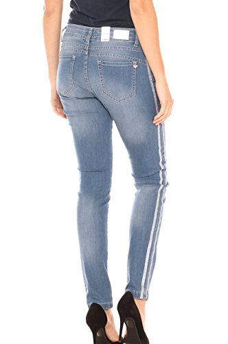 Con Cotone Skinny Jeans In cape X Stretch Laterale Denim Donna Lurex Banda AZ8fpwq