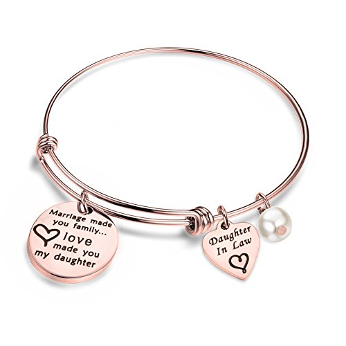 bobauna Daughter in Law Gift Marriage Made You Family Love Made You My Daughter Adjustable Wire Bangle Bracelet (Daughter in Law Bracelet RG)