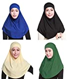 GladThink 4 X Full Cover Womens Muslim 2 Pieces Hijab Caps Islamic Scarfs Set No.9