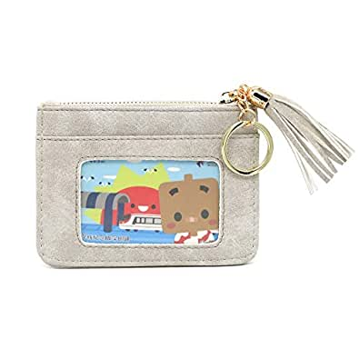 DukeTea Keychain Wallet ID Card Holder Case Coin Purse with Key Ring for Women Grey Size: Small