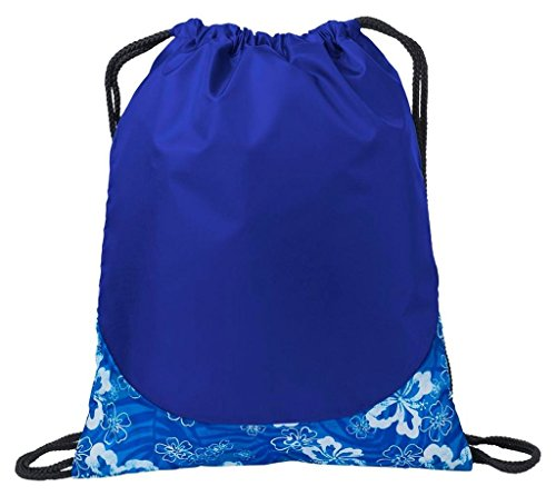 AimTrend All-Purpose Patterned Cinch Drawstring Gym Bag, Tropical Royal