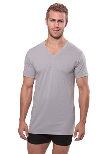 Texere Men's V-Neck Luxury Undershirt (Meio, Light Gray, L) Basic Under Shirts