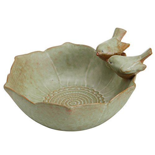 Decorative 2 Birds Garden Design Ceramic Green Serving Bowl / Jewelry Tray / Candy & Nut Dish - MyGift®