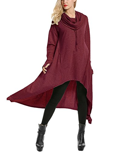 Zeagoo Women's High Low String Hoodie Tunic Sweatshirts