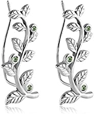 316L Surgical Steel Earrings Ear Vine Climber Crawler Pin Wire Stem Leaves Light Green 20G