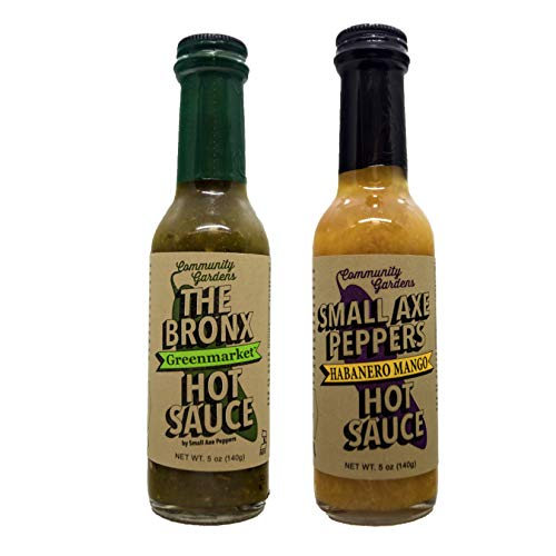 Small Axe Peppers HOT ONES Hot Sauce Set, (2) 5 oz- All Natural, Kosher, non-GMO, Community Garden Grown! Mango Habanero Sauce & The Bronx Greenmarket Serrano Pepper Hot Sauce, Featured on HOT ONES! ()