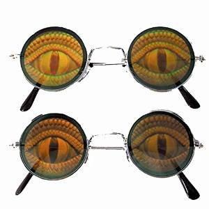 2 Round Lizard EYE Reptile Hide Your Poker Eyes Hologram 3d - Lizards Sunglasses