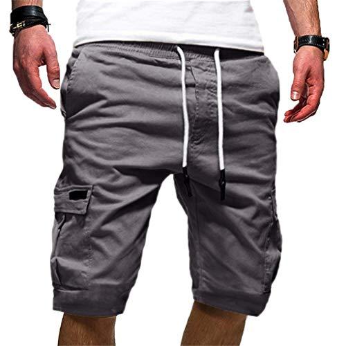 Seaintheson Men's Sport Cargo Shorts,Pure Color Plus Size Bermuda Pants Casual Loose DrawstringSweatpants Dark Gray