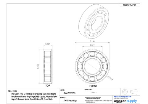 FAG NU2205E-TVP2 Cylindrical Roller Bearing 18mm Width Single Row 25mm ID Polyamide Cage Removable Inner Ring Straight Bore 52mm OD Normal Clearance High Capacity