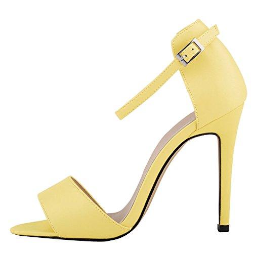 Fereshte Donna Da Donna Cinturino Alla Caviglia Alto Tacco A Spillo Sandalo Da Ufficio 14 Colori Giallo Chiaro