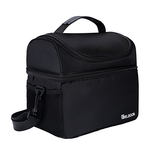Insulated Lunch Box for Adults, Men ,Women and Kids, Thermal Reusable Waterproof Lunch Bag for Meal Prep with 2 Main Spacious Compartments.(Black)