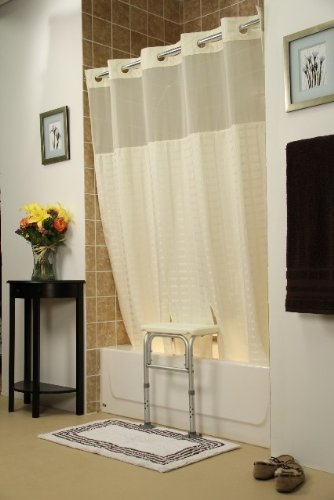 Whitaker Transfer Bench Shower Curtain(Color=White)