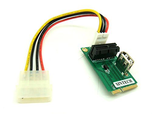 PCIe PCI Express 1X or USB Card to Mini PCI-E Adapter by Sintech