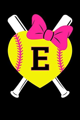 - Girls Softball Monogram Journal Letter E Name Sports Notebook: Love Softball Player Pink Bow Monogrammed Blank Lined Book
