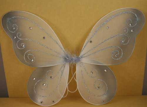Silver Butterfly Fairy Costume Wings 18