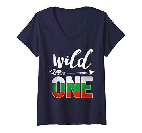 Womens Bulgaria Wild One Birthday Outfit 1 Bulgarian Flag V-Neck T-Shirt ()