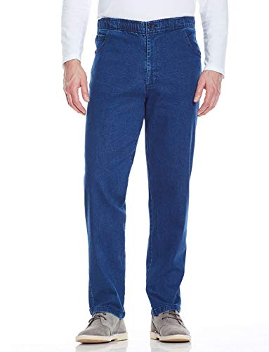 Chums Mens Elasticated Waist Drawcord Denim Trouser Pants Jeans Blue 44W x 27L