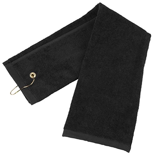 Flammi Tri-Fold Cotton Golf Sports Towel with Grommet Include Metal Clip, 16' x 25' (Black)