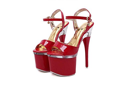 Nightclub Donna bianca Nera Con Asta Alto rossa Myi 41 43 Ballo 42 Rosso Scarpe Da Tacco E Sandali 4ROOEqd