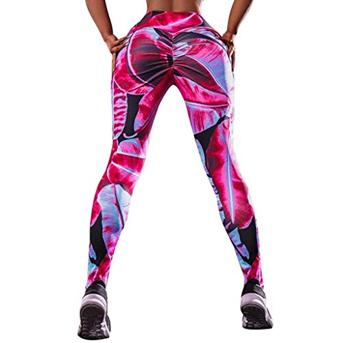 PLENTOP Yoga Pants for Women Mesh Panels, Capri Leggings Women,Women's Fashion Workout Leggings Fitness Sports Gym Running Yoga Athletic Pants Pink by PLENTOP (Image #3)
