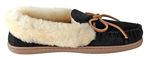 Minnetonka Womens Alpine Sheepskin Moc Black