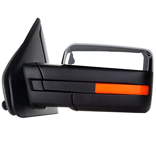 (ECCPP Replacement fit Ford F-150 2007-2014 Driver Chrome Towing Mirror Power Heated Puddle Light Turn Signal Left Side View)
