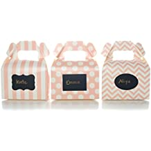 Baby Pink Candy Boxes & Black Label Chalkboard Vinyl Stickers (36 Pack) - Girl Baby Shower Favors, Princess Birthday Party Favor Boxes, Light Pink Candy Box