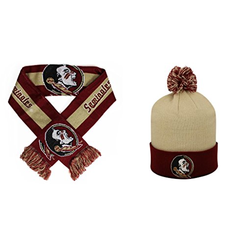 NCAA Florida State Seminoles Pom Beanie Hat And Big Logo Scarf 2 Pack (Big Logo Beanie)