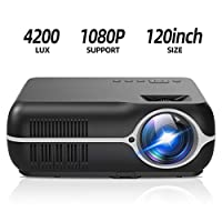 ILIMPID Home Video LCD Projector, Multimedia Home Cinema Theater Projector 4200 Lumens WXGA 1280×800 Resolution Support Full HD 1080P Home Theater Movie Video Games (Basic Version, Black)