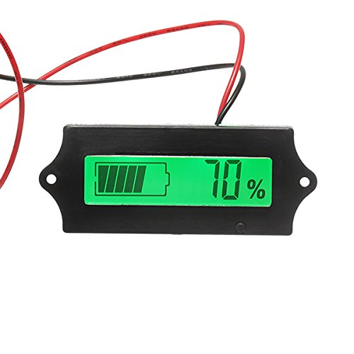 ILS - GY-6A Y6A 12V 24V 36V 48V Lead Acid Battery 2-15S Lithium Battery Universal Adjustable 6-63V Green Screen Waterproof LCD Capacity Display Board Indicator Digital Voltmeter With Switch