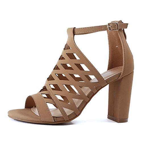 (Womens Strappy Cut Out Perforated Open Toe Shoe Block Chunky Mid Heel Comfortable Sandals (10 M US, Tanv1 Nub))