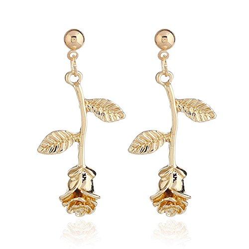 WLL Romantic Rose Flower Pendant Dangle Earrings for Women and Girl (Spring Flower Dangle)