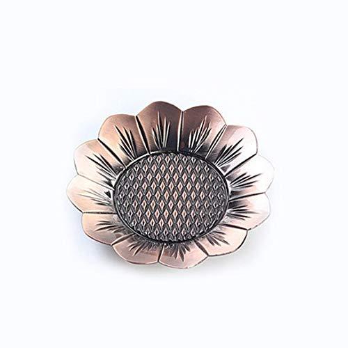 Bubble-Princess - 1PC Alloy Red Bronze Plating Sunflower Teacup Mat Diameter 9.5cm Vintage Copper Decorative Teacup Holder Chinese Puer Tea Set ()