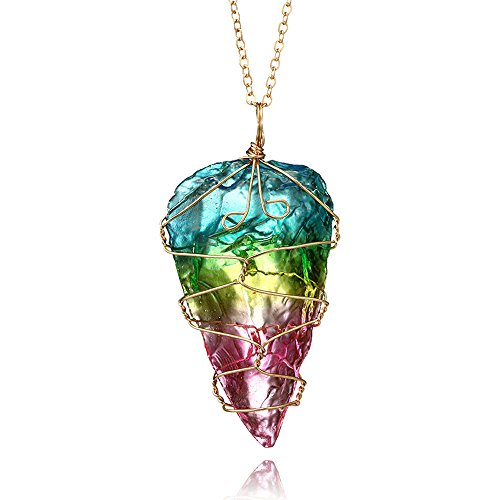 Fashion Necklace, Hoshell Rainbow Stone Natural Crystal Rock Necklace Gold Plated Quartz Pendant ()