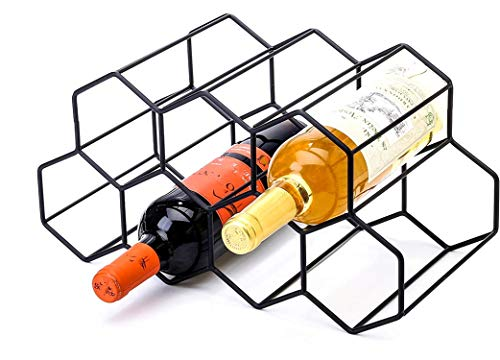 CMDREAM Black Metal Wine Rack Freestanding, Tabletop Wine Rack Holder, Countertop Wine Bottle Holder – Geometric Design for Wine Cellar Bar Cabinet (Black – 9 Bottles)