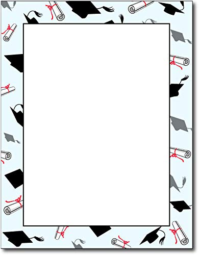 - Grad Caps & Diplomas Graduation Stationery Paper - 80 Sheets