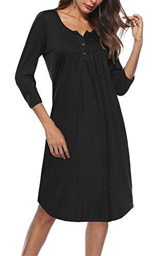 Bette Boutik Ajustement Robe Évasé Femmes Manches 3/4 Longueur Du Genou Décontracté Avec Des Tuniques Bouton Noir