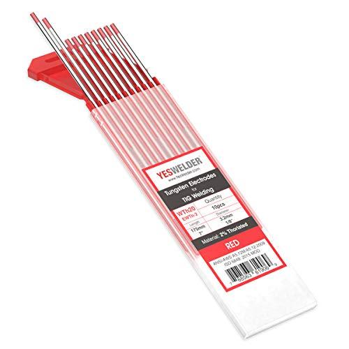 """TIG Welding Tungsten Electrode 2% Thoriated 1/8"""" x 7"""" (Red, EWTh-2) 10-pk YESWELDER"""