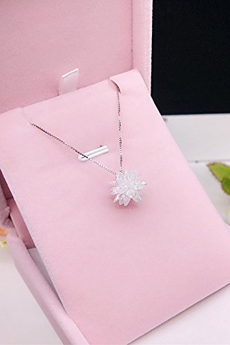 Unique s925 Silver Snowflake Zircon Crystal Necklace Pendant Gift Woman Bouquet Jewelry Accessories Women Girls Clavicle Chain Gift Crystal Cluster Bouquet Jewelry