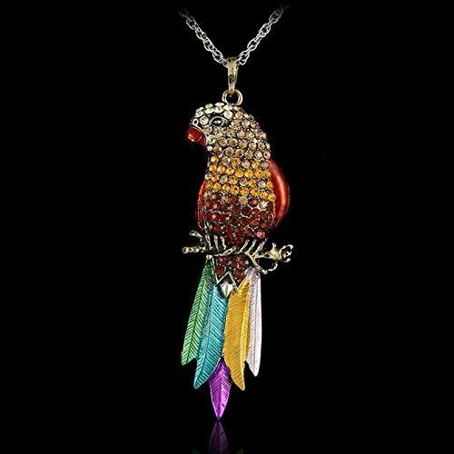 Kaputar Vintage Bronze Crystal Rhinestone Enamel Bird Parrot Pendant Necklace Chain Gift | Model NCKLCS - 17717 | ()
