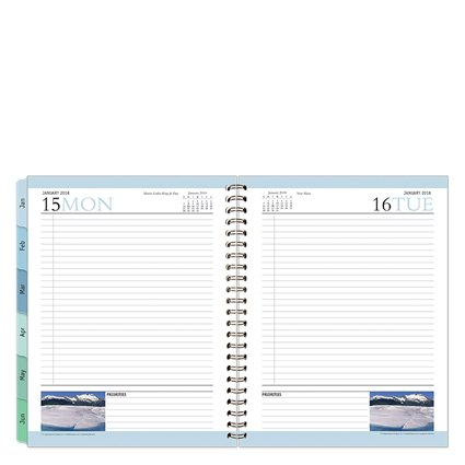 Monarch Leadership One-Page-Per-Day 6 Month Wire-bound Planner - Jan 2018 - Jun 2018 Day Wirebound Day Planner